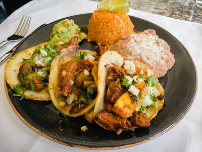 My Pork and Pineapple Tacos arrive - porky goodness, sweetness from grilled pineapple, and really substantial.  I would gladly order this again.