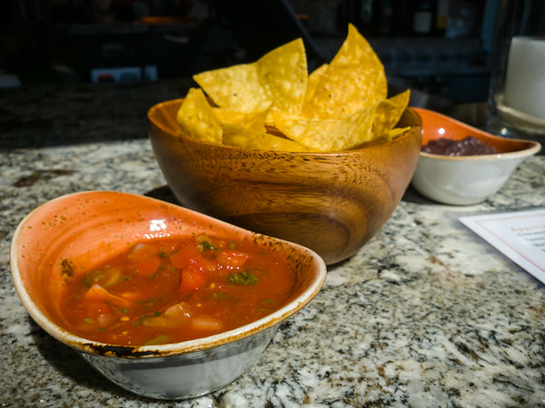 Chips and salsa...off to a good start.  I even like dipping the chips in the beans.