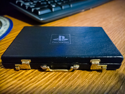 One of my favorite memorabilia from game development is this PlayStation briefcase...
