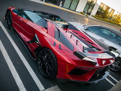 Afternoon coffee walk sighting of Lamborghini Aventador SVJ at Motortrend #CarsAndCoffee