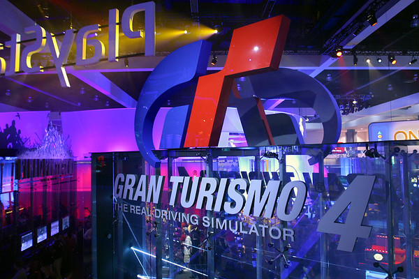 View from Jak II area of Gran Turismo 4 sign