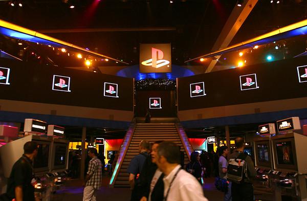 PlayStation booth entrance (PS logo)