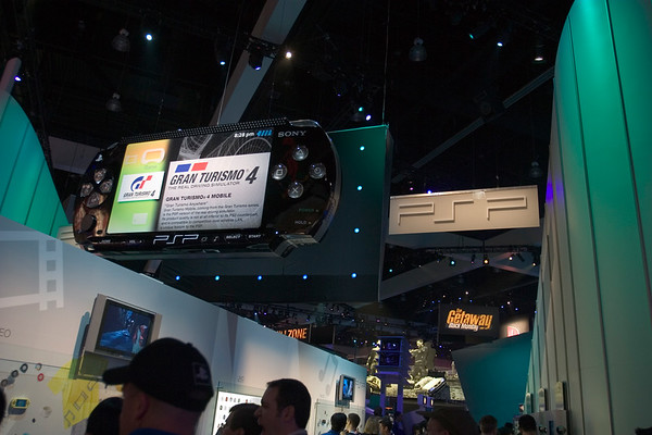PSP's debut is HUGE...literally!  Definitely the big thing at Sony's booth this year.  Gran Turismo 4 Mobile promises to be not at all inferior to its console counterpart.  Bold claim, but exciting if true