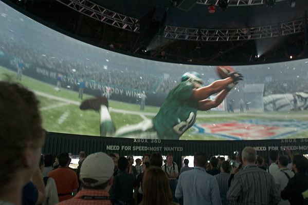 The layout of EA's booth sucks, but the 360 degree video presentation includes highlights of their next-gen titles and is extremely impressive!