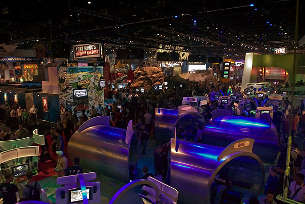 Here's the view from the upper-deck of the Microsoft Xbox booth