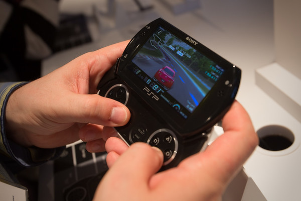 I wait in line to check out Gran Turismo for PSP running on the upcoming PSP Go (both to be launched on October 1, 2009)