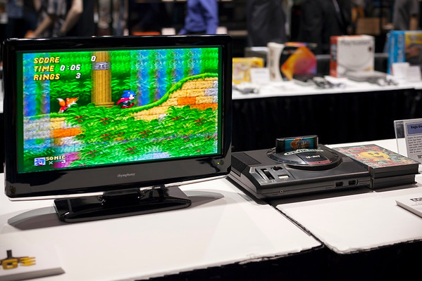 My first credited titles were for SEGA Genesis, but they are not among the games on display.  And hooking these consoles to anything but a CRT seems wrong.