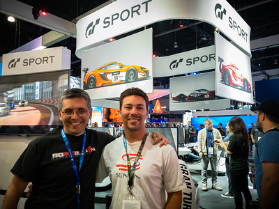 On one level, it seems entirely random to bump into my car club buddy Jonathan at E3.  He is not in the industry, but he is a gamer...and we share a passion for Gran Turismo.  He calls out to me from the line for GT: Sport...and manages to get me into a race with him.
