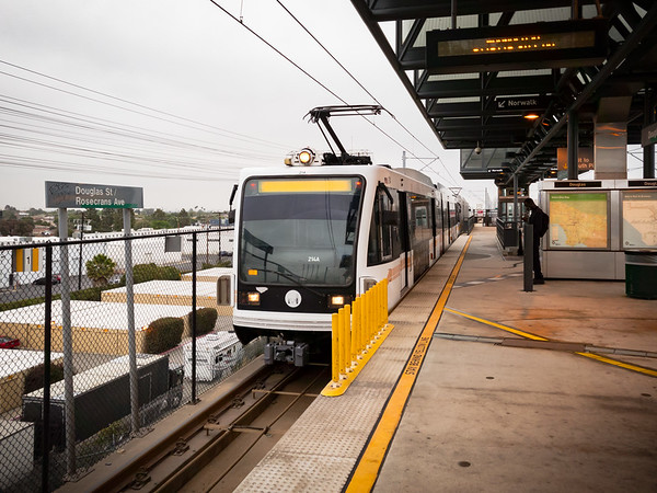 Metro Green Line train arrives