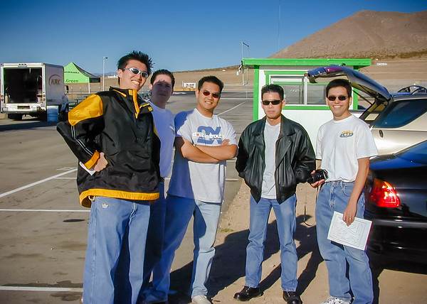 Naughty Dogs arrive at Willow Springs Go-Kart Circuit to celebrate the launch of CTR (Crash Team Racing).  From left-to-right: John Kim (joined the team less than a month ago), Justin Monast (one of the old Dogs), EP (hired shortly after me), Malcolm Hee (we go way back), and me (Photo by Stephen White)