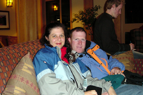Sharon with husband and Naughty Dog co-founder Andy Gavin sitting in the lobby