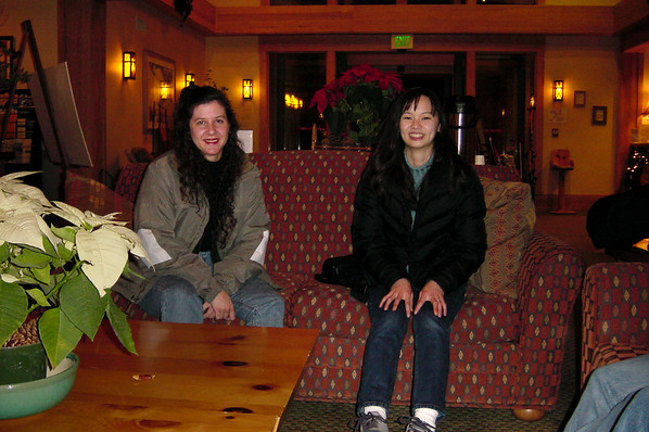 Karen and Valerie sit in the lobby
