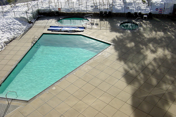 Looking down on the pool behind the condo