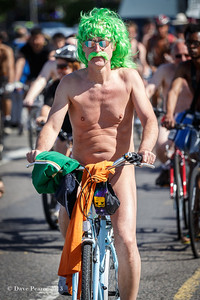 Naked Irish bike rider in London.