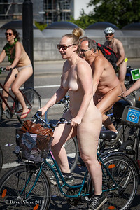 Naked bike rider in London.