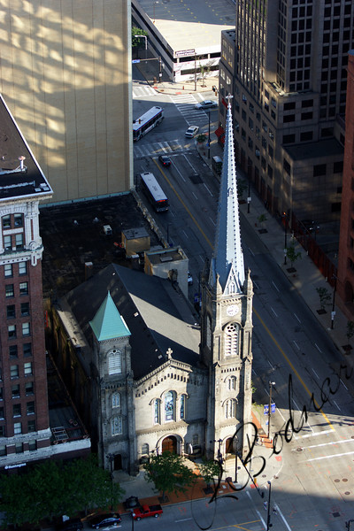 Photo By Bob Bodnar........................Old Stone Church taken from Terminal Tower Observation Deck