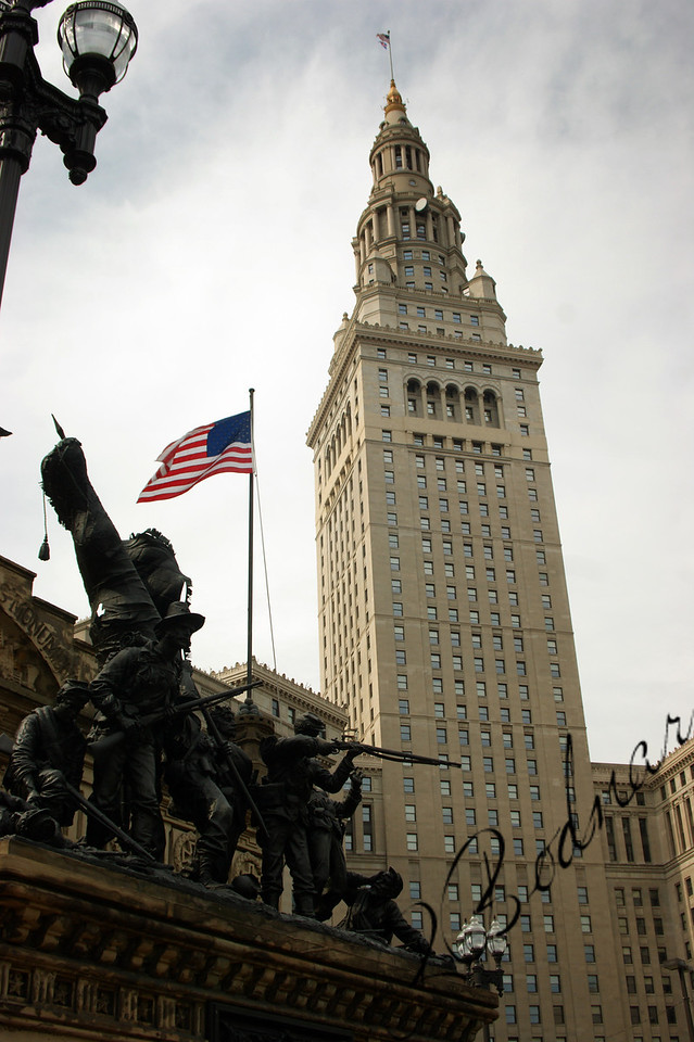 Photo By Bob Bodnar........................................Part of Solider & Sailor's Monument with Terminal Tower