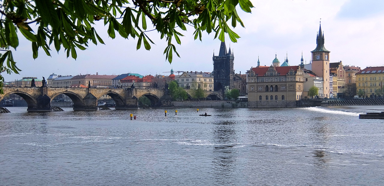Charles Bridge spans the Vltava River