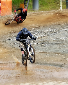 Last puddle at the finish line of the mountain bike run