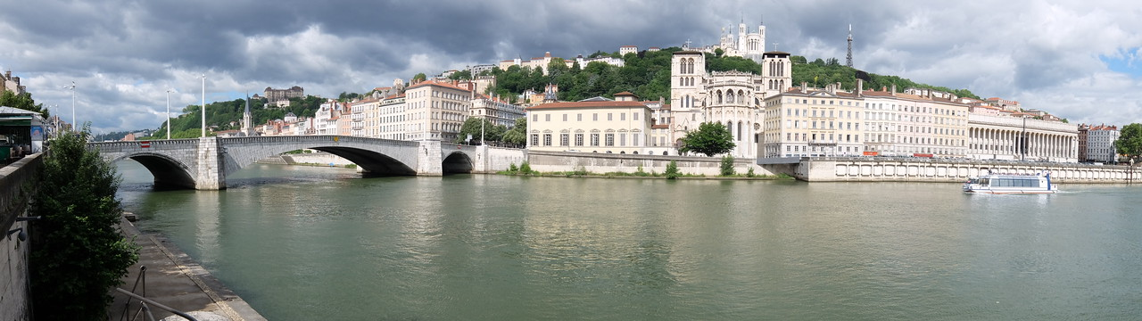 panormic view of Lyon from the market stalls