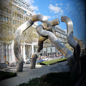 The Broken Chain sculpture. The giant sculpture depicting a broken chain symbolized the city divided into East and West Berlin due to the Berlin war in the cold war era.