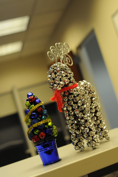 My cool jingle bell decorations on my desk.  The reindeer bells sound just like Santa.