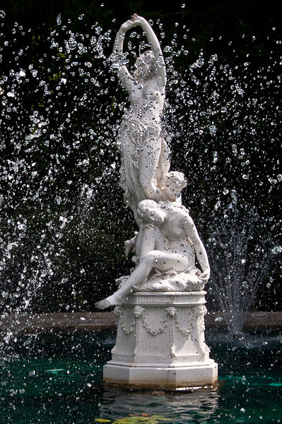 Main fountain statuary at Yaddo, water nymphs and cherub.