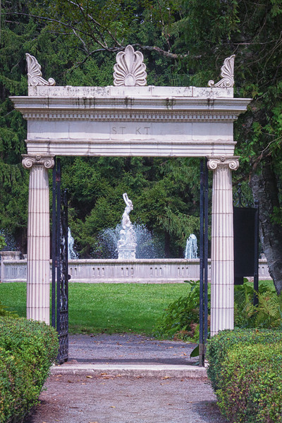 "Entrance ""ST/KT Gate"" to the Yaddo garden with ionic columns, modeled after classical Italian gardens"
