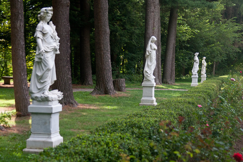 The four marble statues, Autumn, Winter, Spring and Summer.
