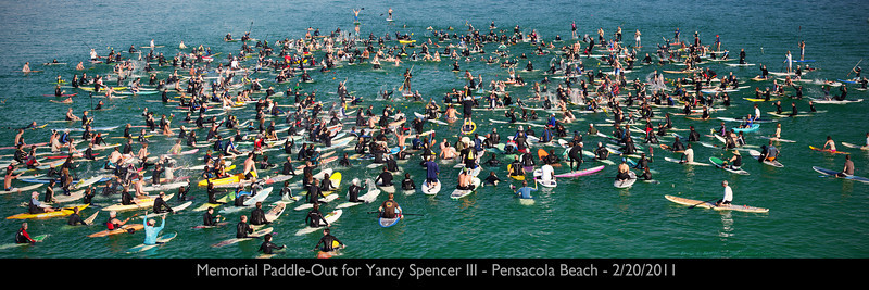 "Memorial Paddle-Out for Yancy Spencer III - Pensacola Beach - 2/20/2011 Prints available in 10x30 and 8x20. The 10x30 is full size but the 8x20 will be cropped losing some of the edges. Just click the ""Buy"" button."