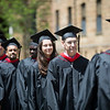 Graduate Theology students process to St. Bede Theater for commencement on May 13.