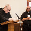 Fr. Denis Robinson, OSB, introduced Rev. Msgr. John Kozar as the Distinguished Alumnus during the Alumni Reunion in July.