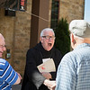 Fr. Lambert Reilly, OSB, greeted alumni outside St. Bede Hall before he gave his Day of Recollection during the Alumni Reunion.