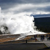 Old Faithful Erupting in the Morning at Yellowstone National Park
