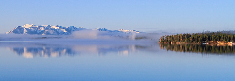 Geyser Fog over Lake Yellowstone and West Thumb Geyser Basin