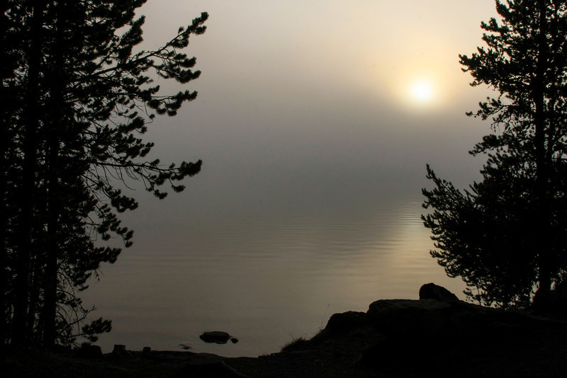 Lake Yellowstone Foggy Sunrise