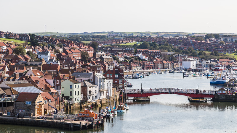 Looking back into Whitby marina