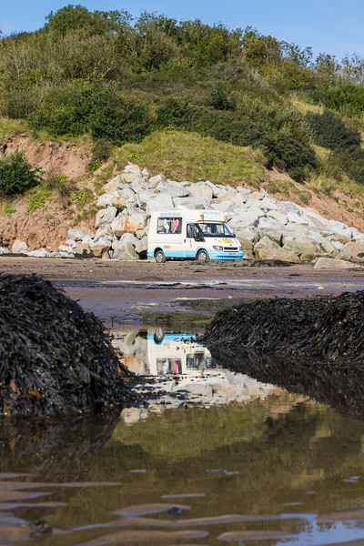 Ice cream van on the beach at Robin Hoods Bay