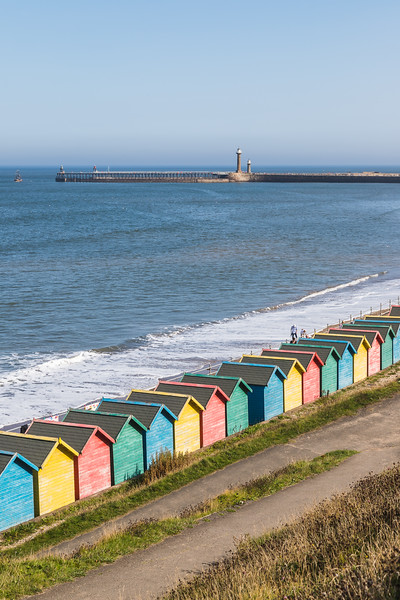 Winding paths to the beach huts at Whitby