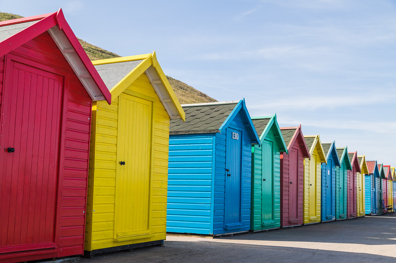 Pretty beach huts in Whitby
