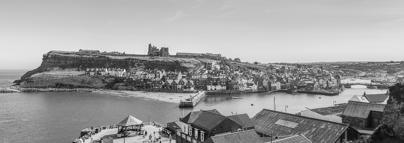 Whitby panorama in monochrome