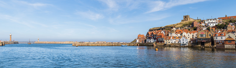 Whitby harbour entrance and East cliff