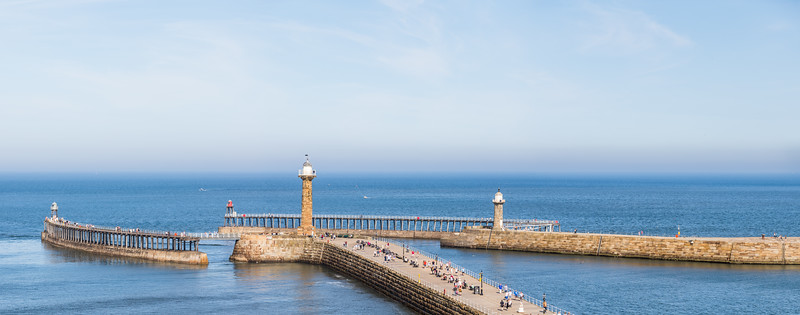 Whitby harbour entrance panorama