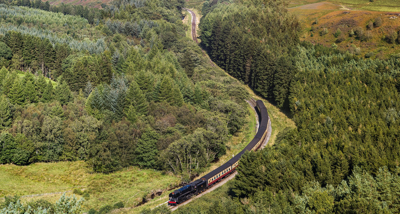 Steam train navigating a valley
