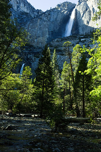 Upper and Lower Yosemite Falls and Merced River