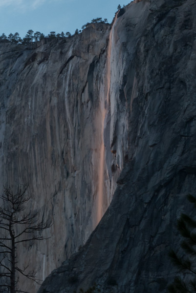 Horsetail falls, a muted firefall