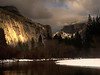 "<center><b>Yosemite - January 2013</b> </center><br>For a brief period this night, the setting sun lit up both the ridge to our left as well as Half Dome. While it doesn't ""pop out"" in this photograph (partly because of the choice of a wide angle) there is a nice cascade on the left that was lit up by the setting sun."