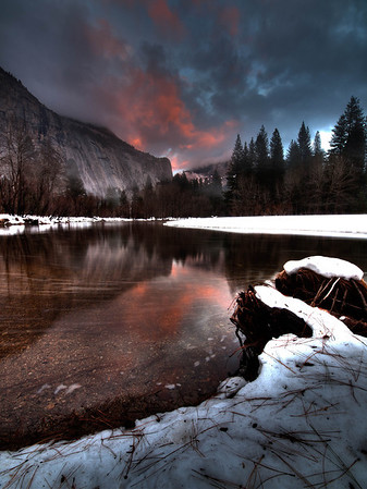 "<center><b>Yosemite - January 2013</b> </center><br>For this trip to Yosemite, we had one day of rain and another where the light just ""went out"" towards sunset as clouds rolled in and changed everything at the last minute. But on this night, I waited until after the light had gone and caught that lovely ""after-glow"" that can light up the sky after the sun has set."