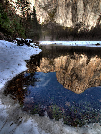 <center><b>Yosemite - January 2013</b> </center><br>When I returned in January of 2013 we spent one morning hiking out to the Merced river within Yosemite Valley to photograph. Several of the images I captured relied on the reflection to create the final composition.