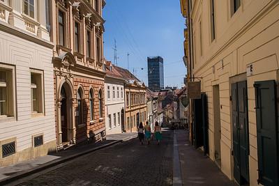 Old Zagreb leading to modern Zagreb, Croatia